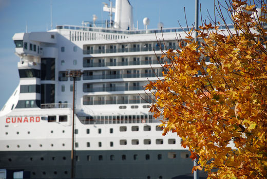 Queen Mary 2 im Herbst in Hamburg
