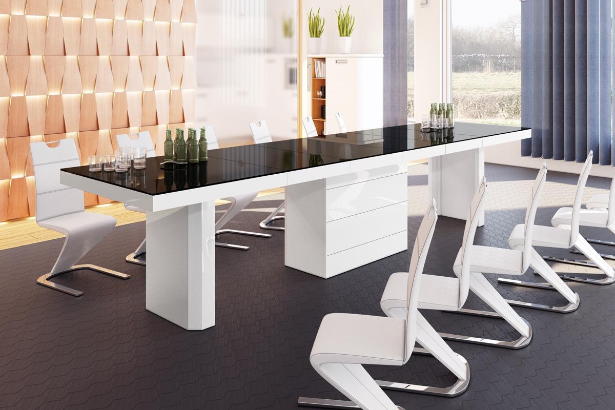 Esstisch weiß hochglanz design  Design Esstisch HE-444 Schwarz / Weiß Hochglanz ausziehbar 160 / 223 ...