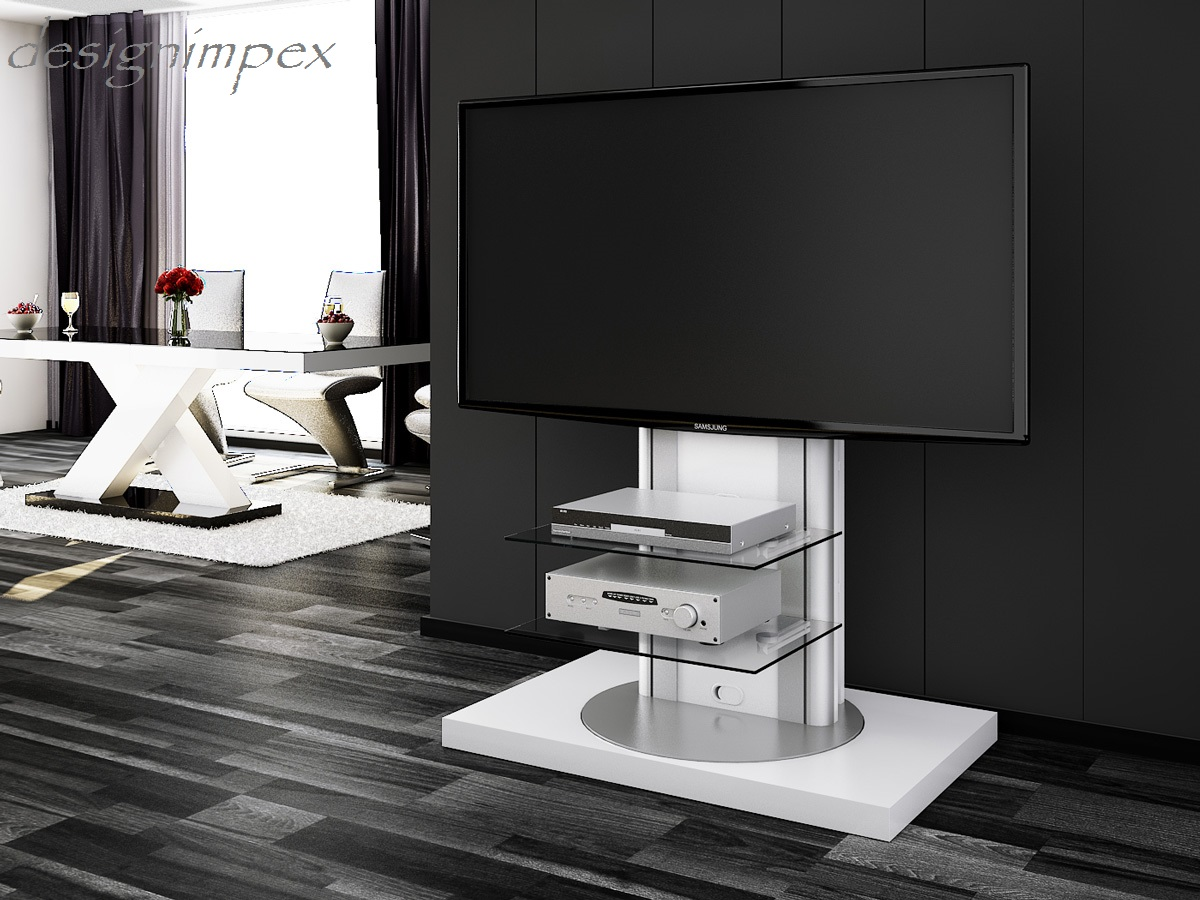 fernsehtisch h 777 wei hochglanz 360 drehbar tv m bel tv rack lcd inkl tv halterung foto im. Black Bedroom Furniture Sets. Home Design Ideas