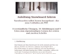 Snowboard Anleitung, Lernen Snowboarden, Lehrbuch Snowboard fahren